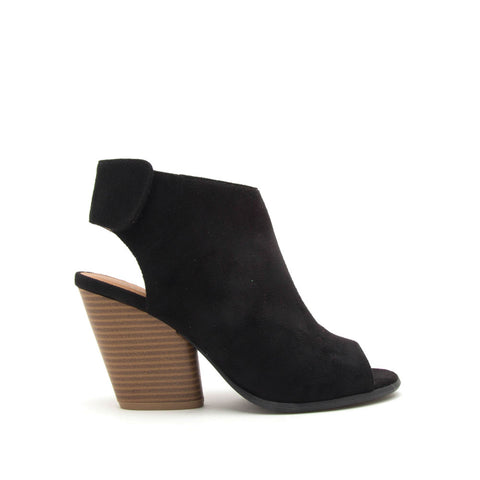 Caution-01 Black Peep Toe Sandals