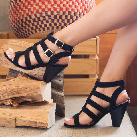 Chamber-22 Black Strappy Sandal