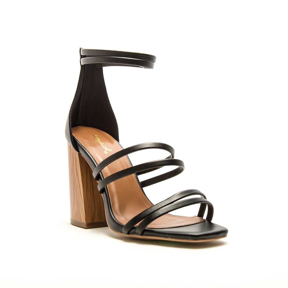 Chandler-13A Black Strappy Heels