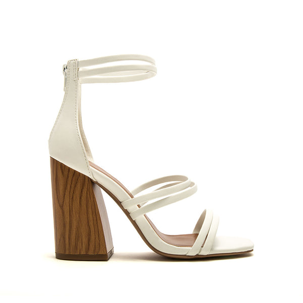 Chandler-13A White Strappy Heels