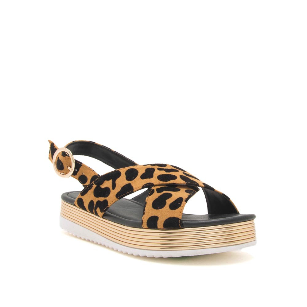 Chap-02 Camel Black Leopard X Band Sandals