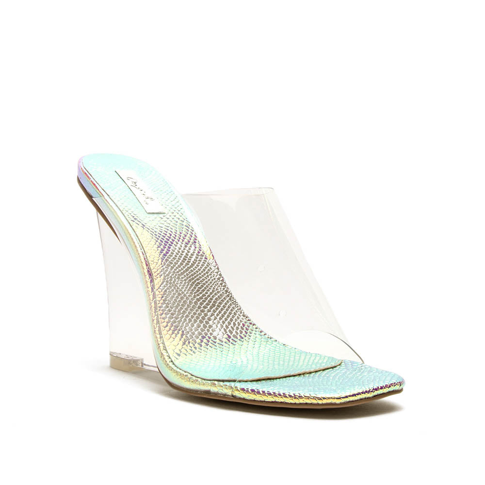 Chesney-01 Clear Single Band Mule Wedges