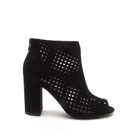 Chester-131 Black Cut Out Peep Toe Bootie