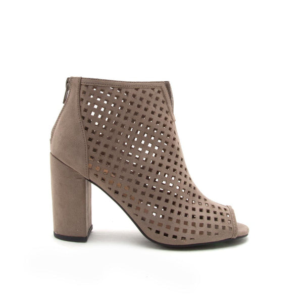 Qupid Women Shoes Chester 131 Taupe Cut Out Peep Toe Bootie