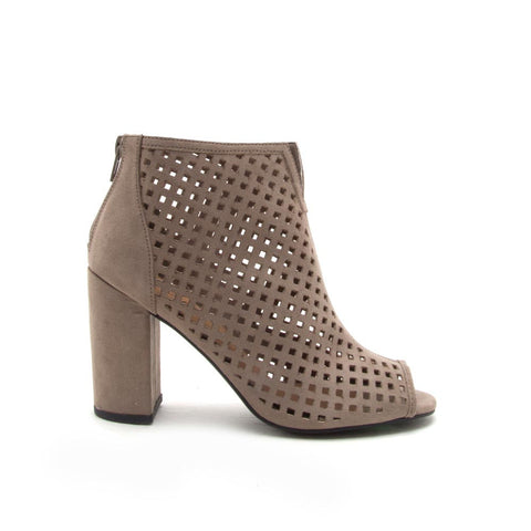 Chester-131 Taupe Cut Out Peep Toe Bootie