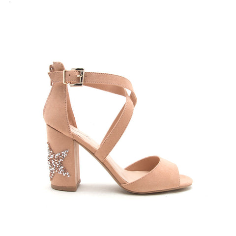 Chester-132 Blush Embellished Star Heels