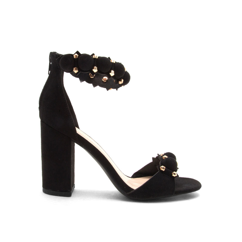 Chester-141 Black Suede Circle Sandals