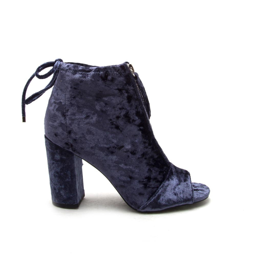 CHESTER-62 Ice Blue Velvet Peep Toe Booties