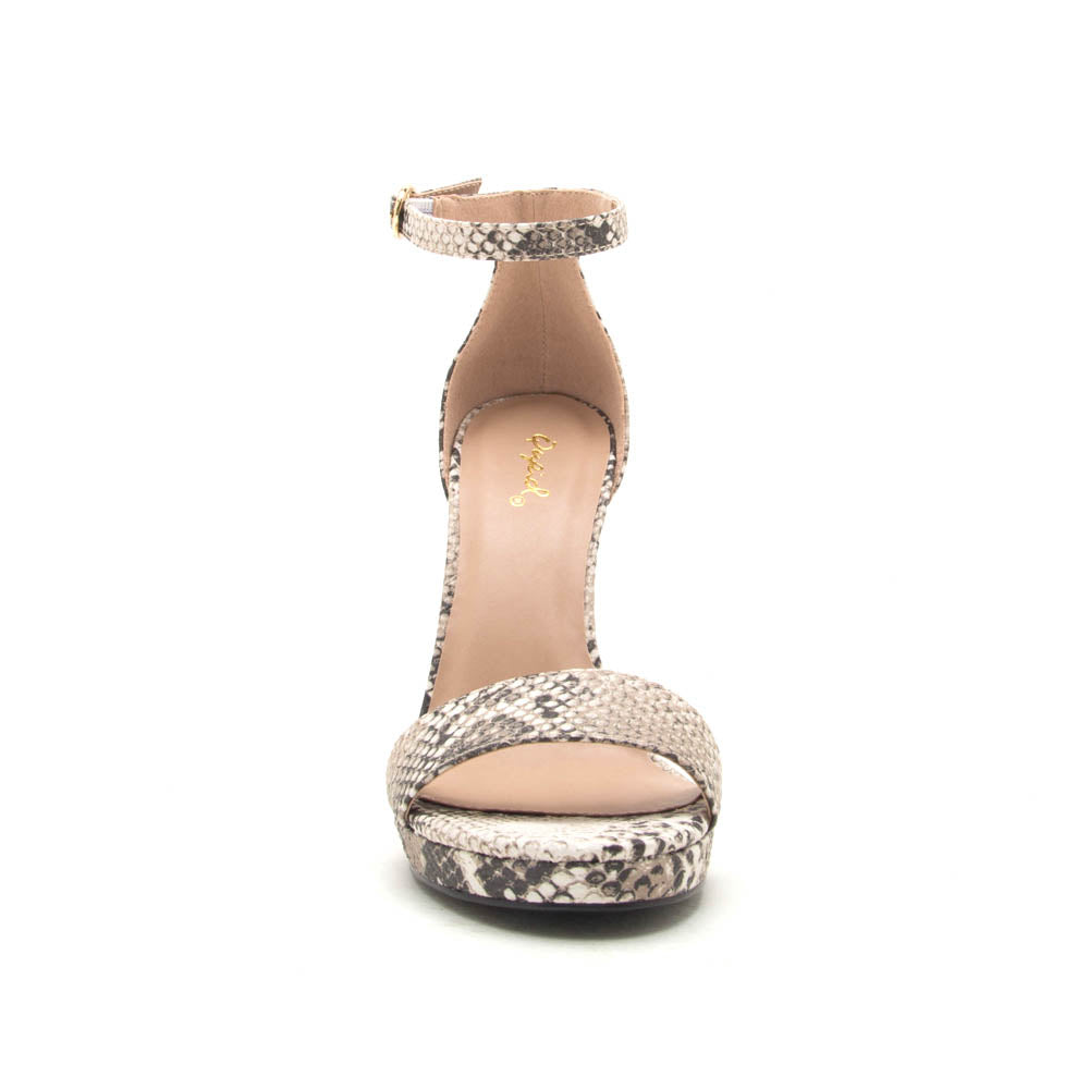 Chicago-01X Beige Brown Snake Ankle Strap Sandals