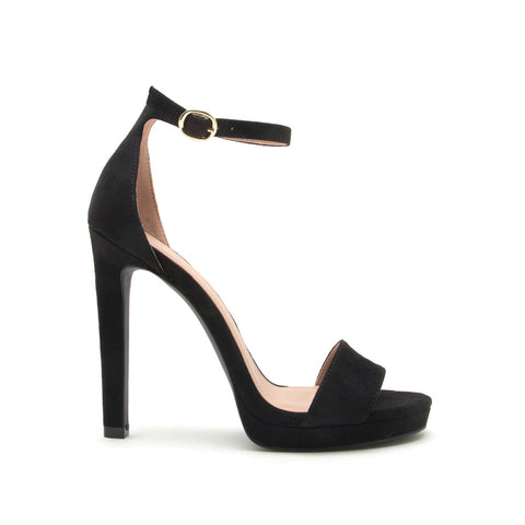 Chicago-01X Black Single Band Ankle Strap Sandals