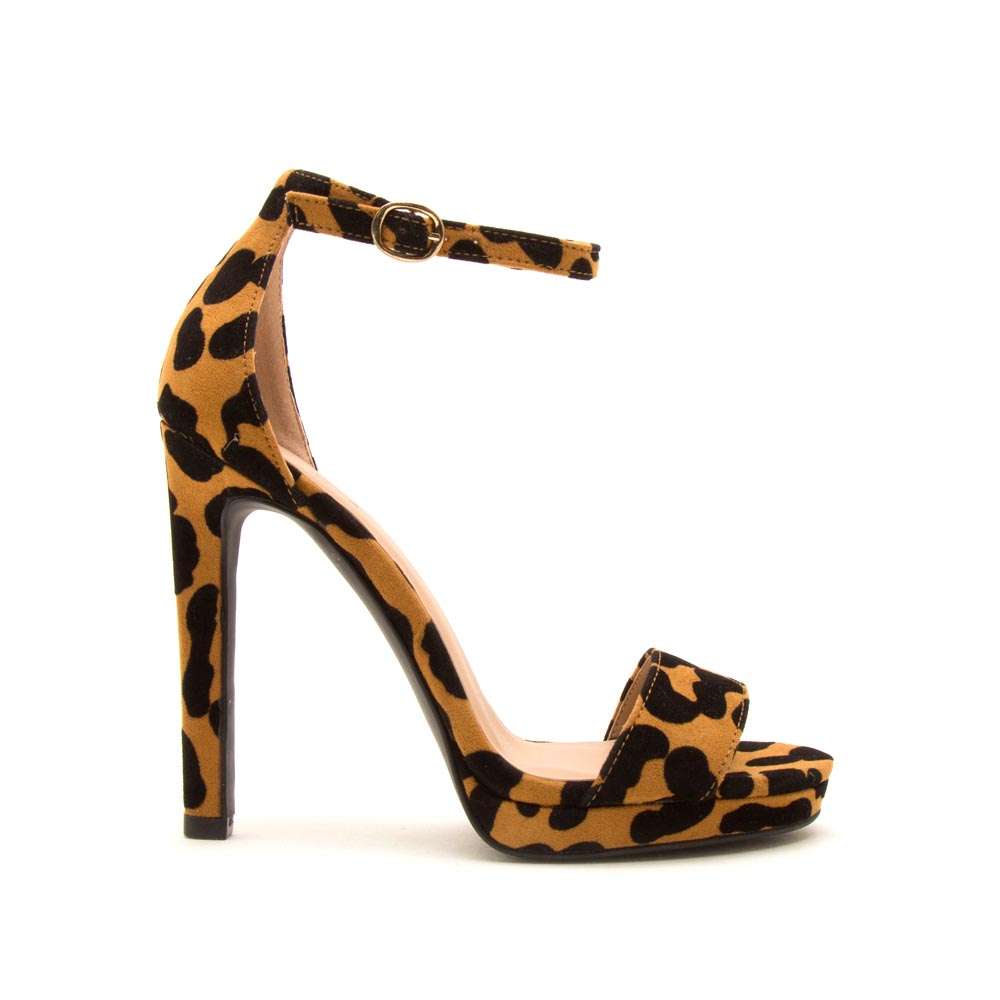Chicago-01X Camel Black Leopard Ankle Strap Sandals