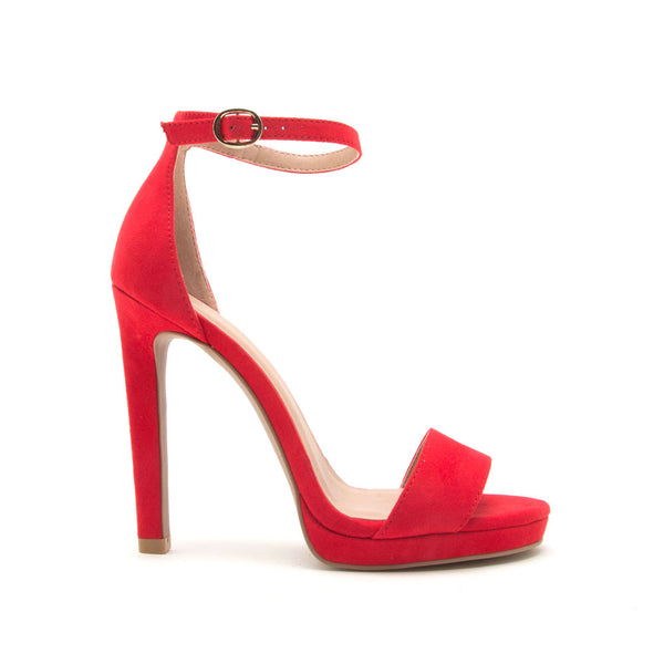 Chicago-01X Red Single Band Ankle Strap Sandals