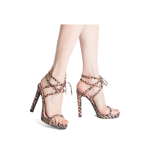 Chicago-18X Tan Leopard Single Band Strappy Sandals