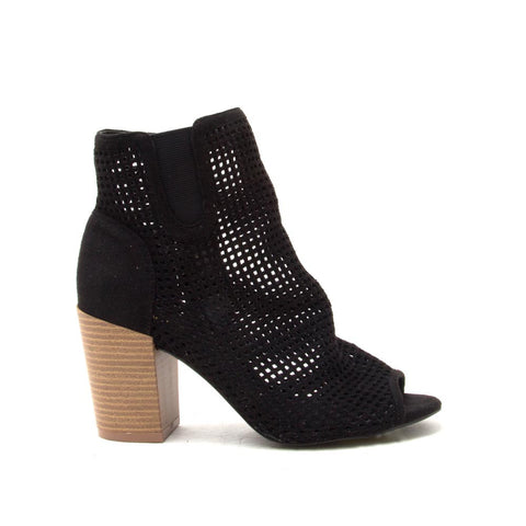 CLYDE-09 Black Perforated Peep Toe Bootie