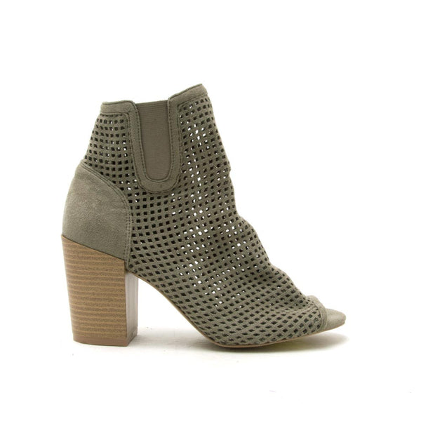 CLYDE-09 Khaki Perforated Peep Toe Bootie
