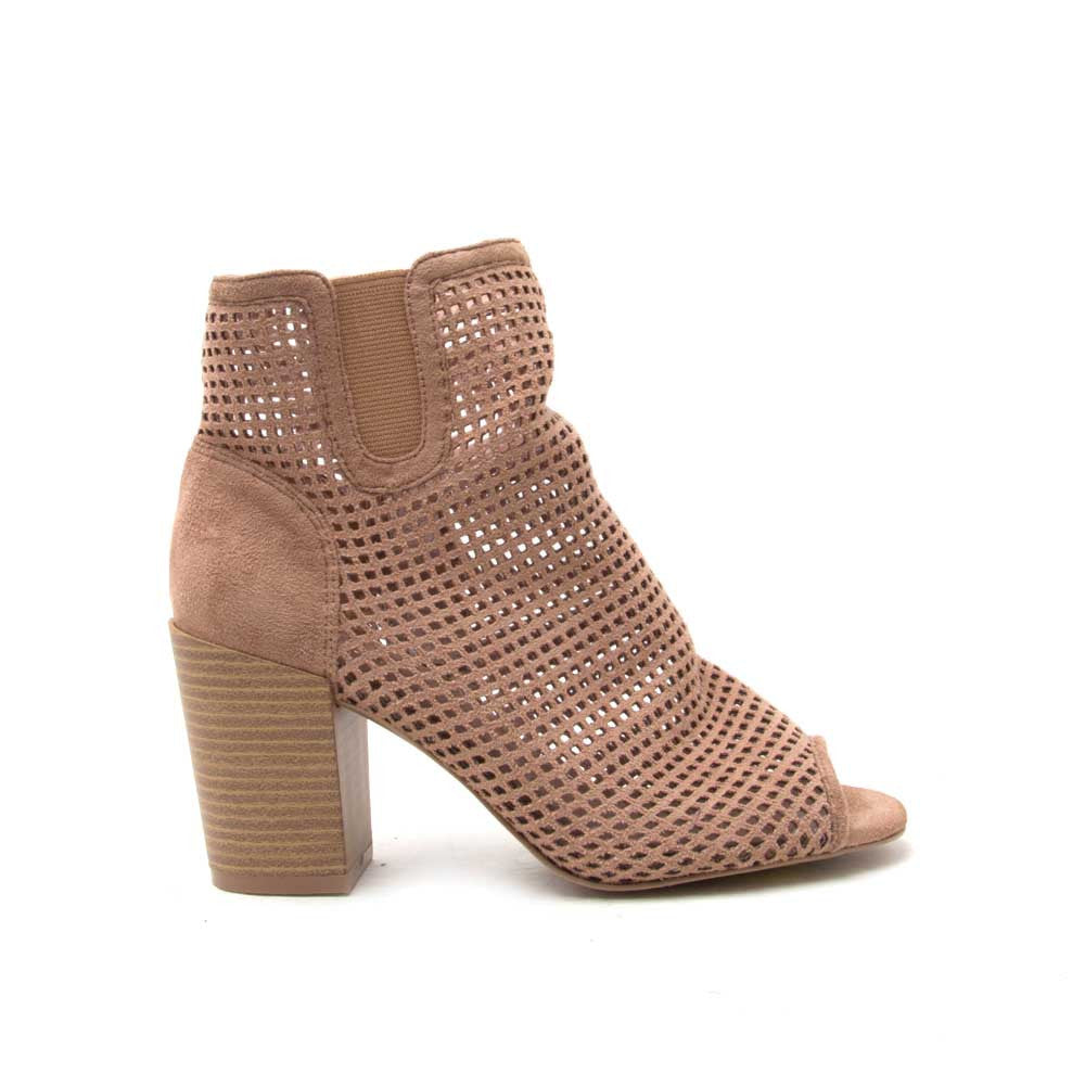 CLYDE-09 Taupe Perforated Peep Toe Bootie