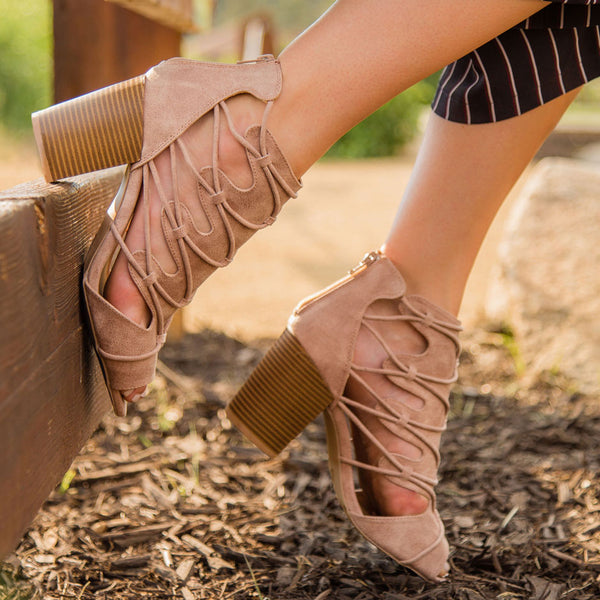 Clyde-35X Warm Taupe Peep Toe Bootie