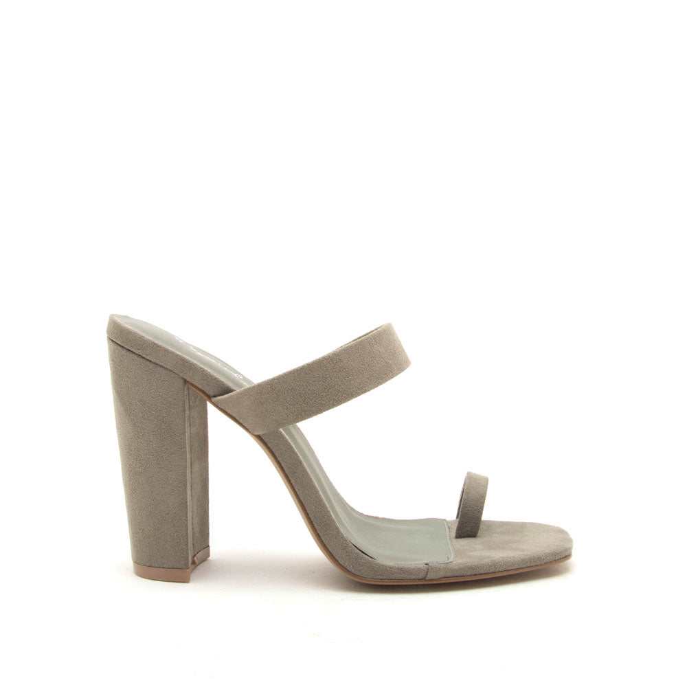 Coline-01 Khaki Slide On Toe Mules