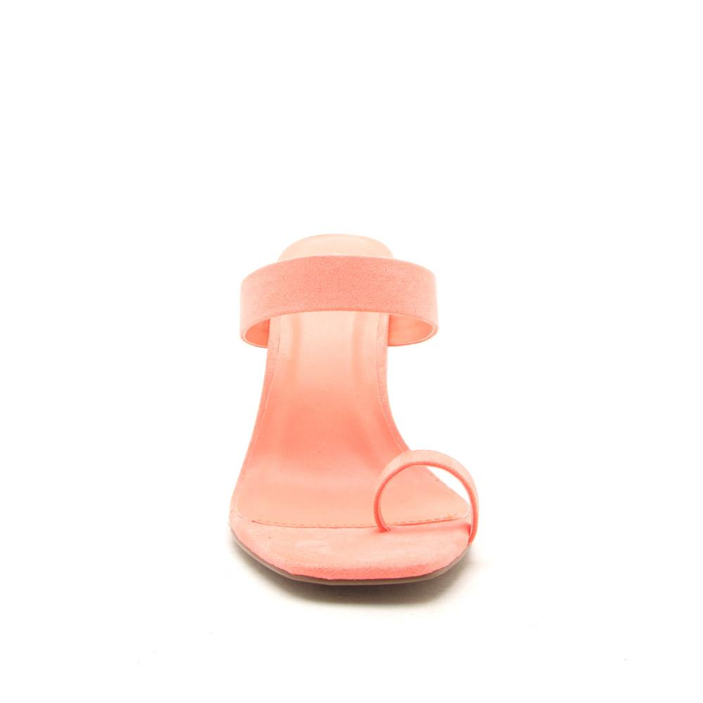 Coline-01 Neon Coral Slide On Toe Mules