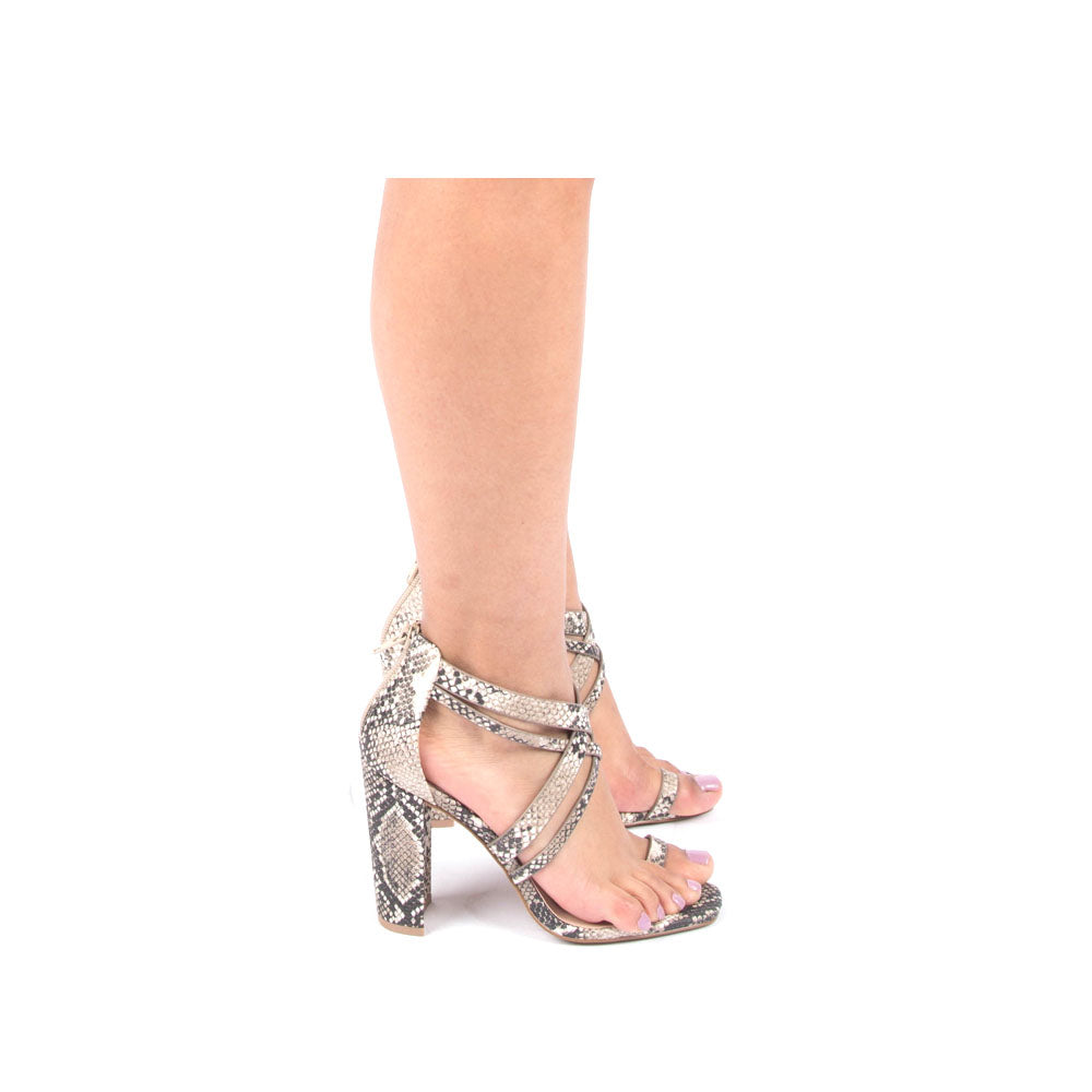 Coline-08 Beige Brown Snake X Band Heels