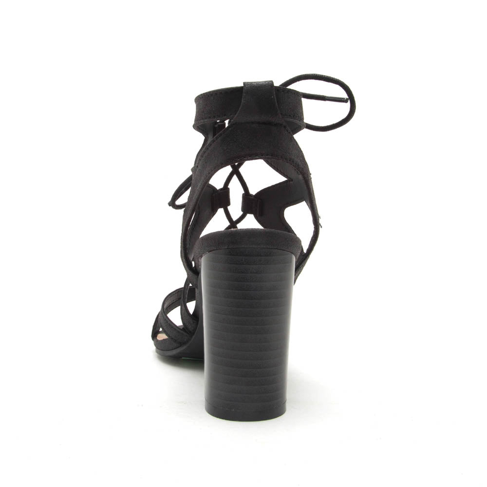 Coly-02 Black Distressed Strappy Sandal