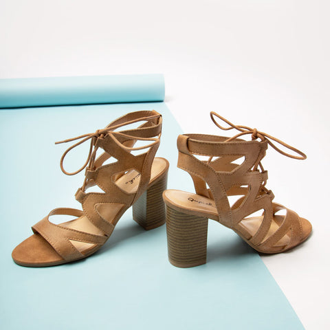 Coly-02 Camel Distressed Strappy Sandal