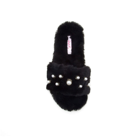 Cool-01 Black Fur Pearl Flats