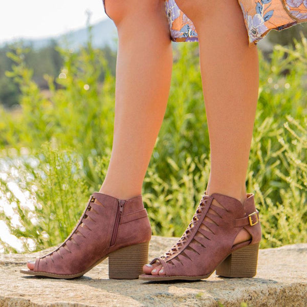 Core-105 Rose Taupe Strappy Peep Toe Shoetie