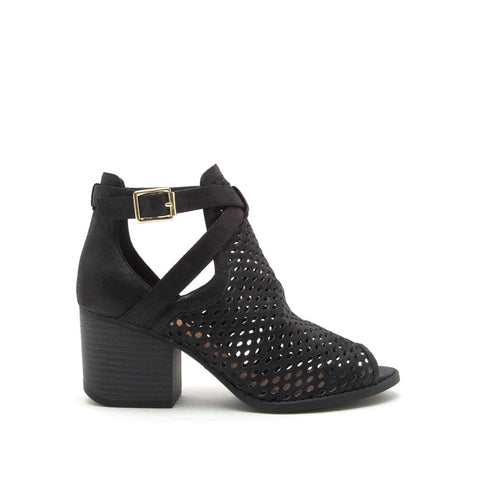 Core-114X Black Perforated Peep Toe Booties