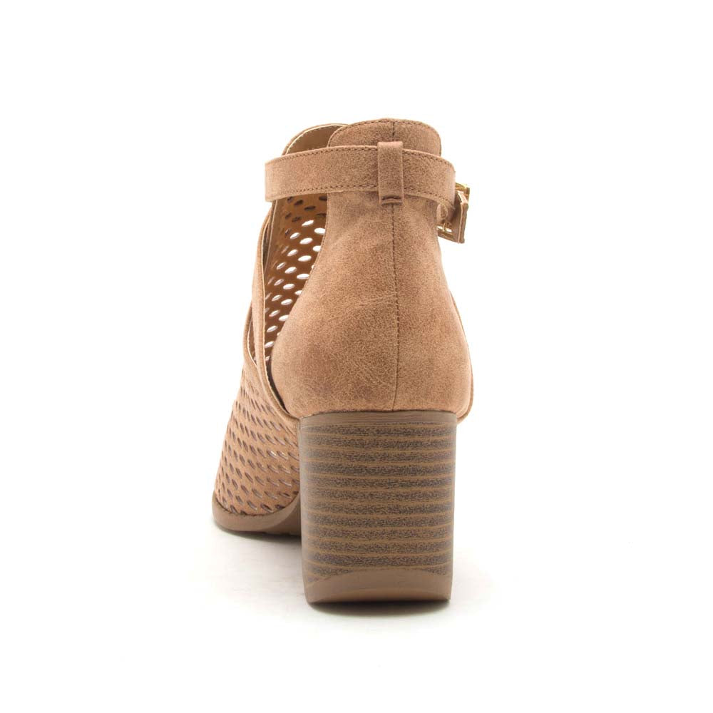 Core-114X Camel Perforated Peep Toe Booties
