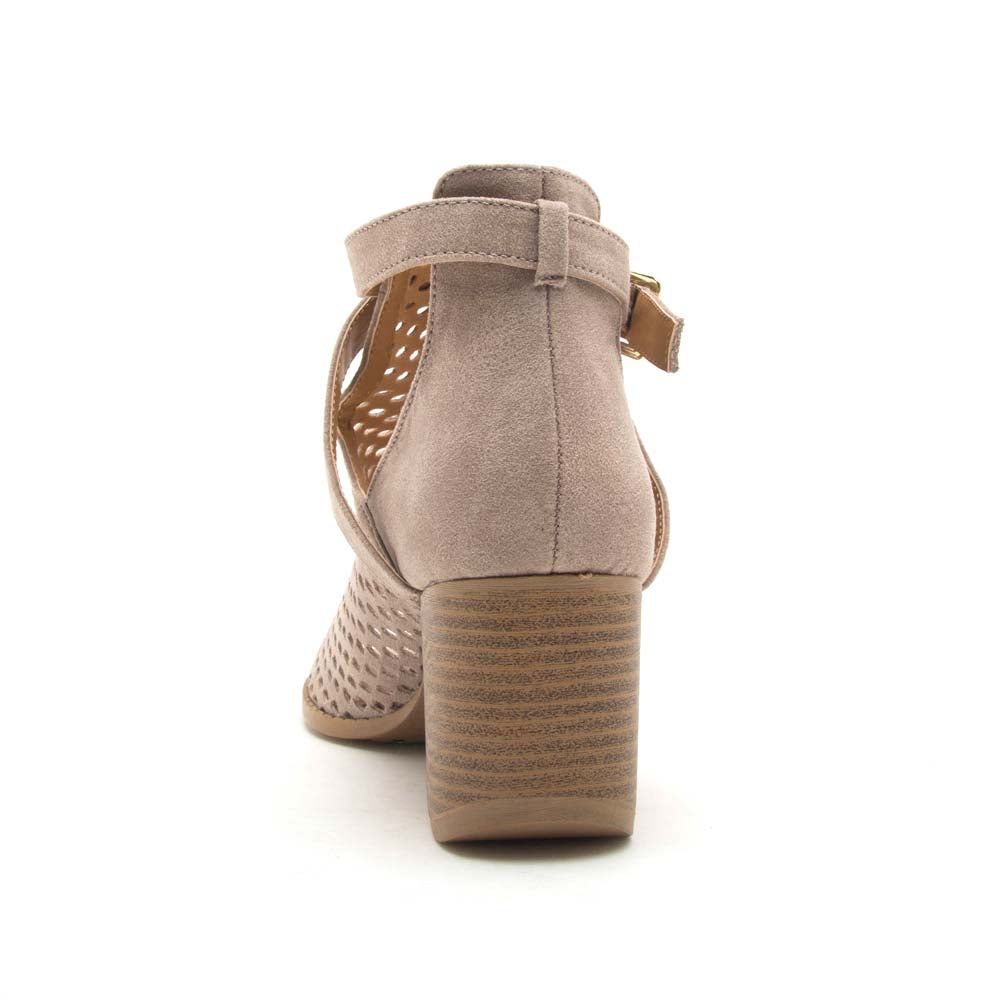 Core-114X Taupe Perforated Peep Toe Booties