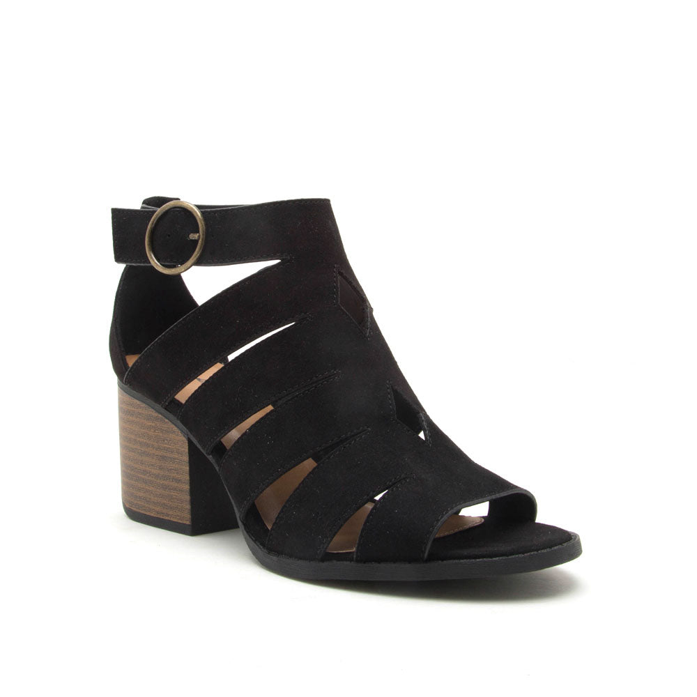 c28a4ced5b9 Qupid Women Shoes Core-116 Black Strappy Sandals