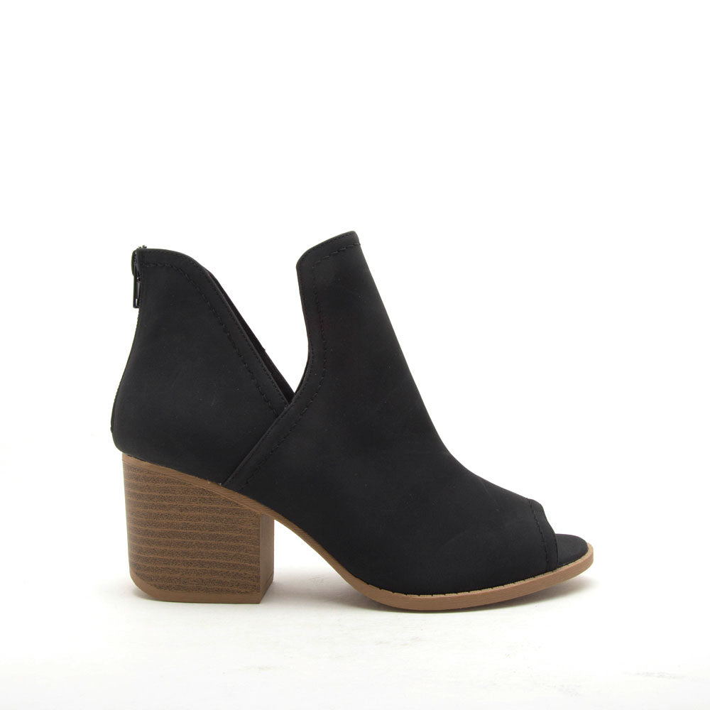 Core-12 Black Nubuck Peep Toe Bootie