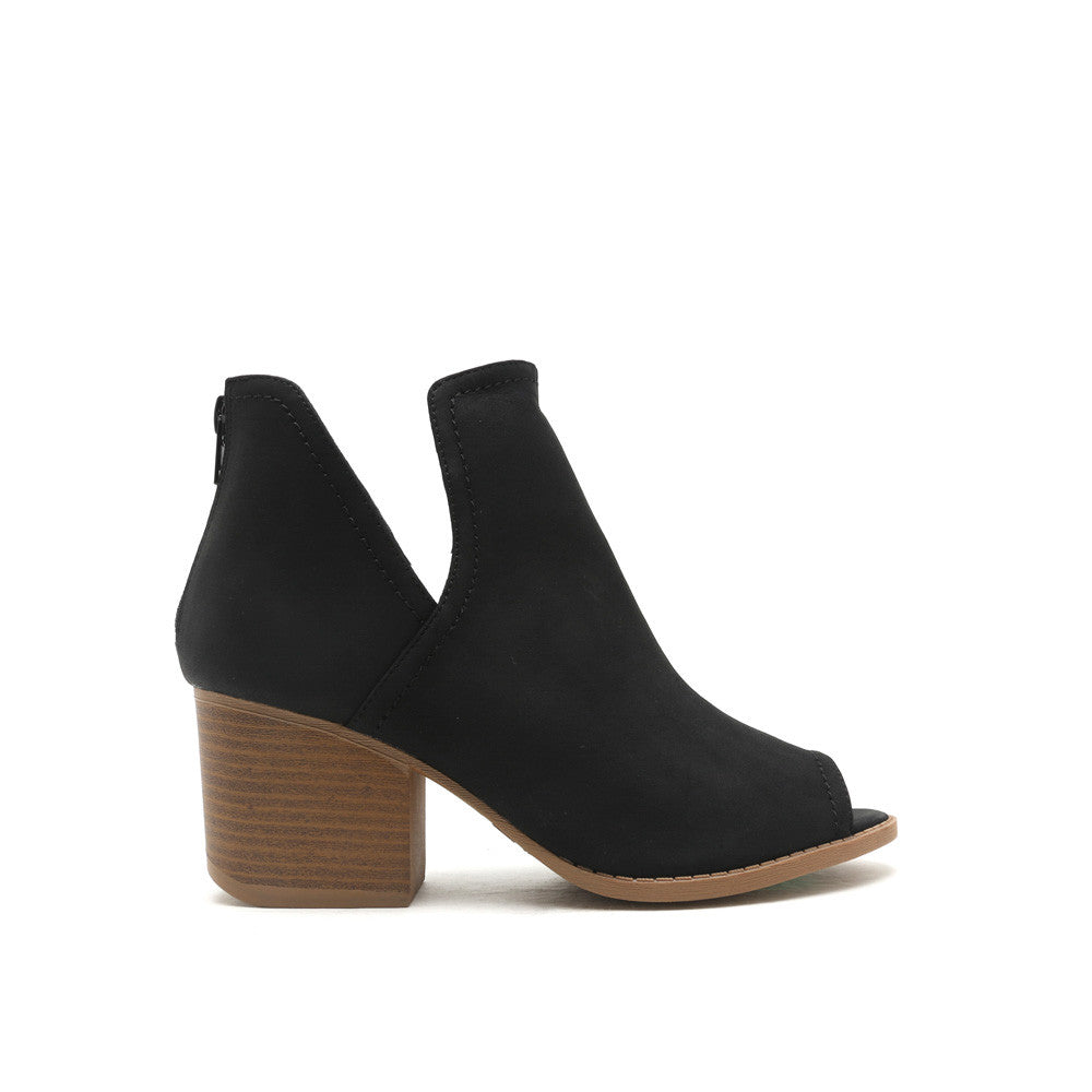 Core-12 Black Peep Toe Bootie