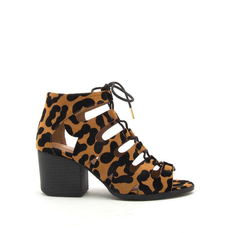 Core-135X Camel Black Leopard Lace Up Sandals
