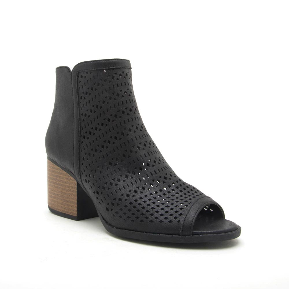 Core-138X Black Peep Toe Perforated Booties