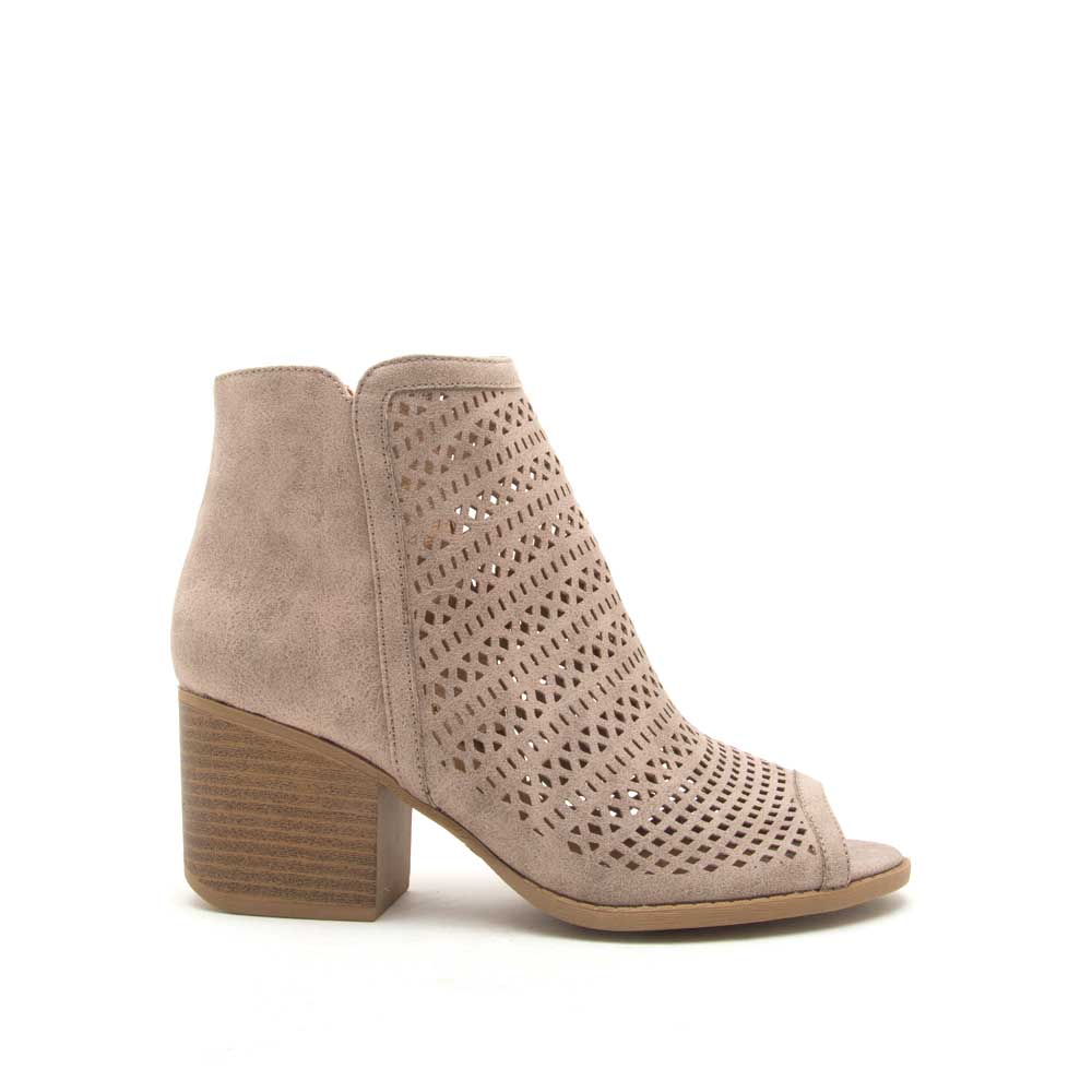 Core-138X Taupe Peep Toe Perforated Booties