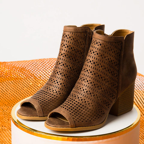 Core-138X Nutmeg Peep Toe Perforated Booties