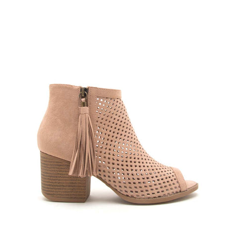 Core-18 Warm Taupe Cut Out Peep Toe Bootie