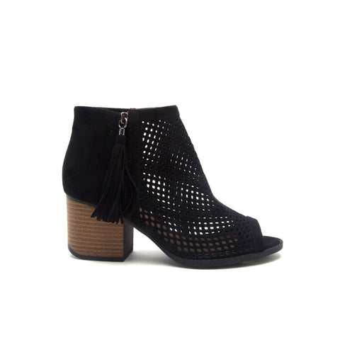 Core-18 Black Cut Out Peep Toe Bootie