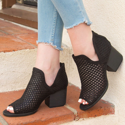 Core-27 Black Perforated Ankle Bootie