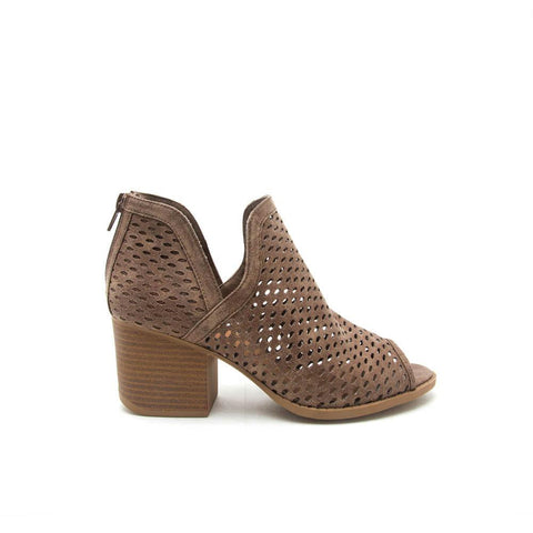 Core-27 Taupe Perforated Ankle Bootie