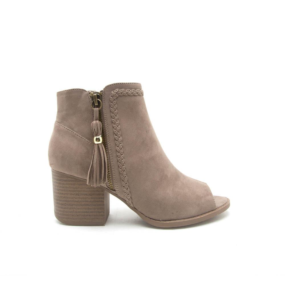 c8b9d4676aef Qupid Women Shoes CORE-28 Taupe Suede Woven Peep Toe Bootie