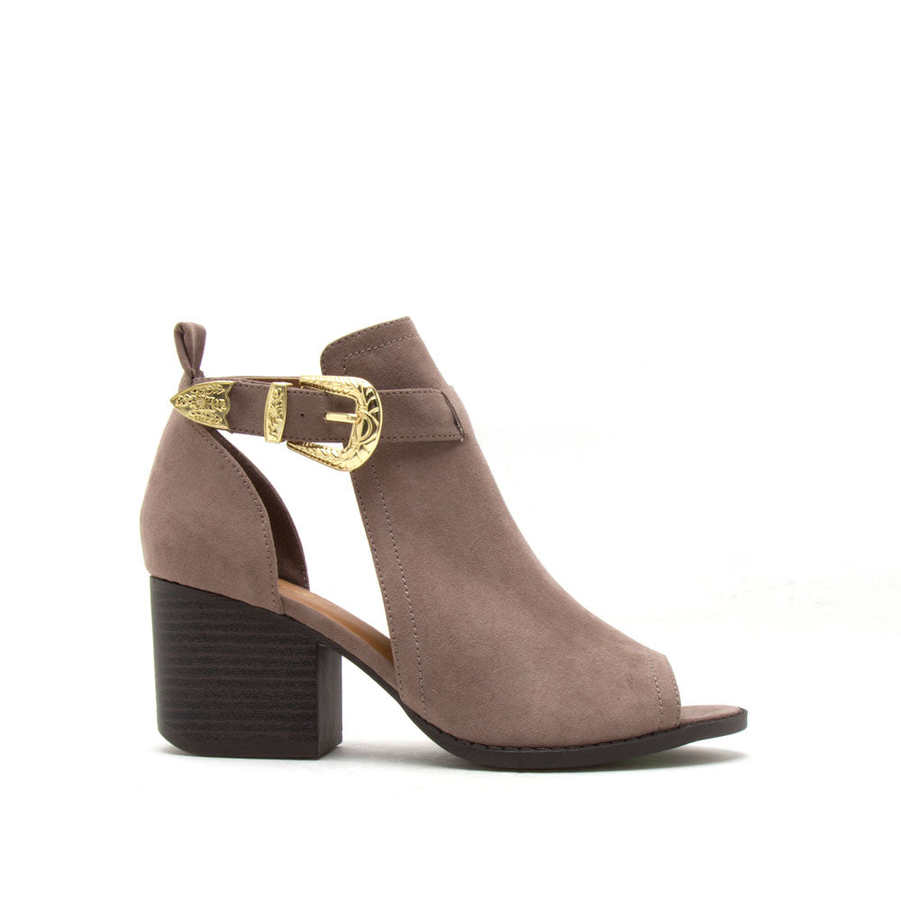 Core-61 Taupe Peep Toe Bootie