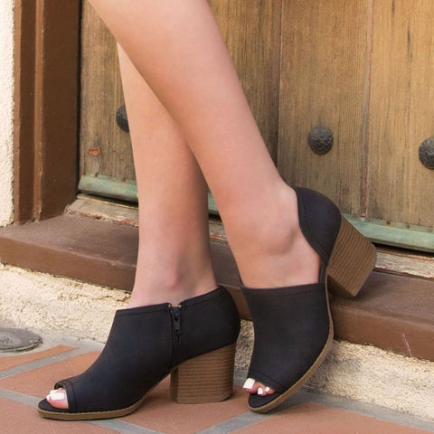 Core-62 Black Peep Toe Bootie