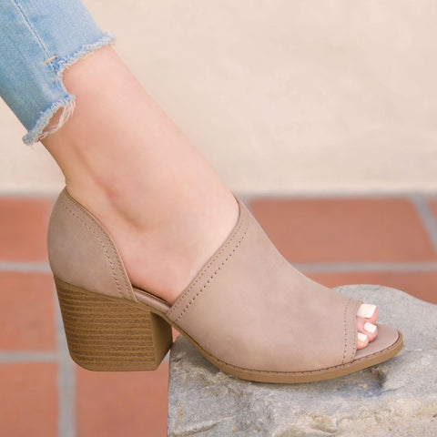 Core-62 Taupe Peep Toe Bootie