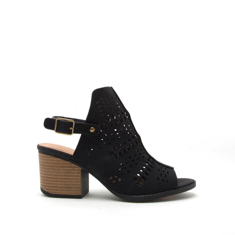 Core-78 Black Perforated Mule Slingback Sandal