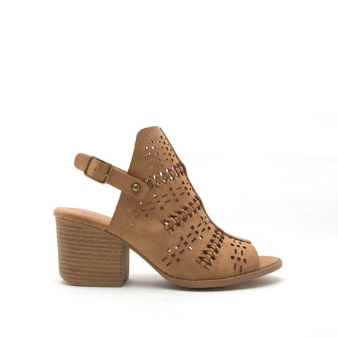 Core-78 Tan Perforated Mule Slingback Sandal
