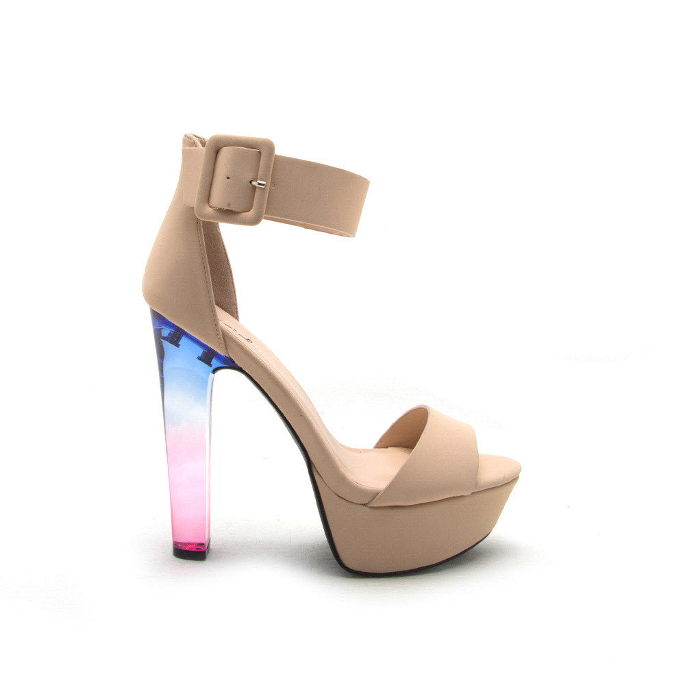 CRESCENT-01 Nude Perspex Ankle Strap Heel