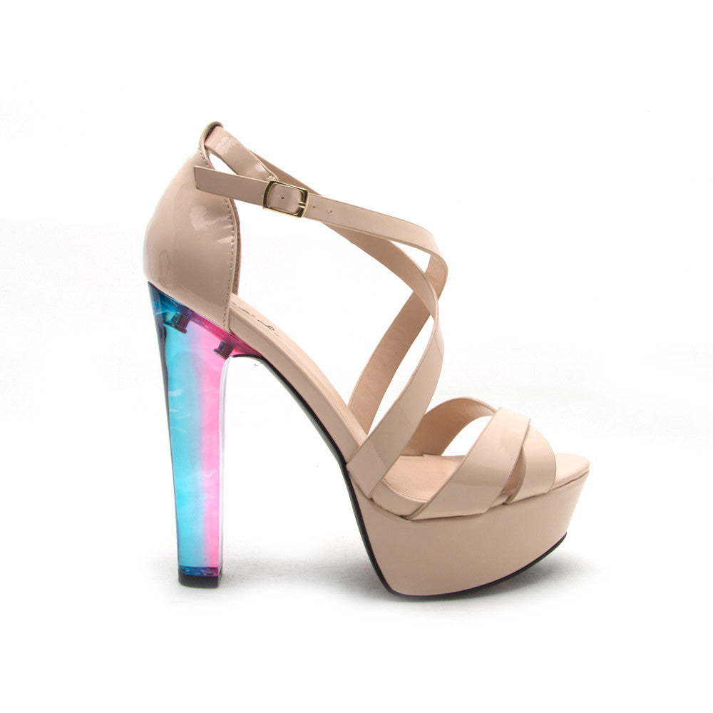 CRESCENT-02 Nude Patent Cross Over Strap Platform Sandal